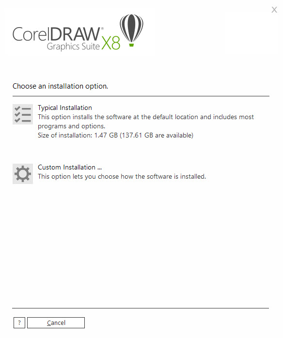 coreldraw x8 install options